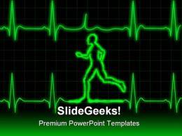 Ecg Runner Sports PowerPoint Template 0610