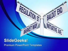 Economy Signpost Metaphor PowerPoint Templates And PowerPoint Backgrounds 0811