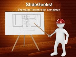 Engineer At Board With Plan Business PowerPoint Templates And PowerPoint Backgrounds 0311