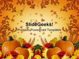 Fall Border Thanks Giving Nature PowerPoint Template 1010