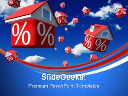 Falling Houses Rates Real Estate PowerPoint Templates And PowerPoint Backgrounds 0711