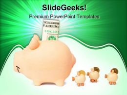 Family Of Piggy Banks Saving Money PowerPoint Templates And PowerPoint Backgrounds 0311