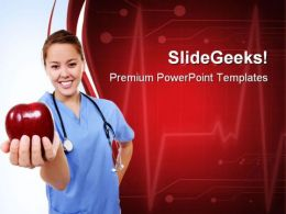 Female Doctor Holds Apple Health PowerPoint Templates And PowerPoint Backgrounds 0811