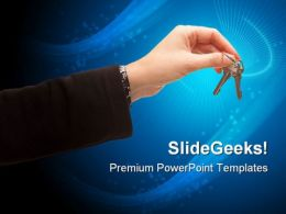 Female Holding Pair Of Key Security PowerPoint Templates And PowerPoint Backgrounds 0311