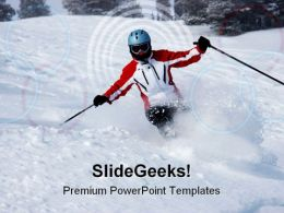 Female Skier Sports PowerPoint Templates And PowerPoint Backgrounds 0511