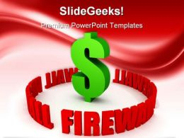 Firewall Protection To Dollar Metaphor PowerPoint Backgrounds And Templates 1210