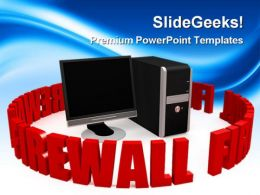 Firewall With Black Screen Computer PowerPoint Templates And PowerPoint Backgrounds 0311
