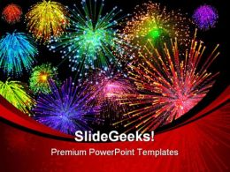 Fireworks Background PowerPoint Template 1010