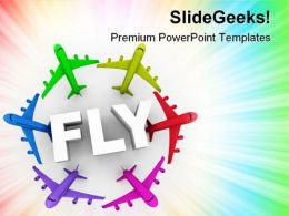 Fly Colorful Airplanes Transportation PowerPoint Templates And PowerPoint Backgrounds 0611