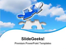 Flying Puzzle Piece Metaphor PowerPoint Templates And PowerPoint Backgrounds 0811