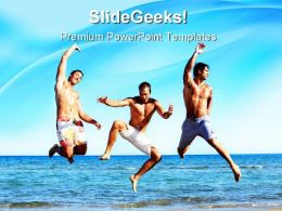 Friends On Beach Holidays PowerPoint Templates And PowerPoint Backgrounds 0711
