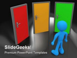 Front Of Three Doors Future PowerPoint Template 1110