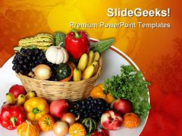 Fruits Vegetables Basket Food PowerPoint Templates And PowerPoint Backgrounds 0311