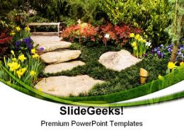 Garden Path Nature PowerPoint Templates And PowerPoint Backgrounds 0511