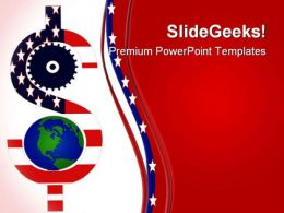 Gear And Dollar Global Symbol PowerPoint Templates And PowerPoint Backgrounds 0511