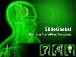 Gears Head People PowerPoint Template 0610