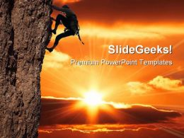 Girl Climbing Success PowerPoint Templates And PowerPoint Backgrounds 0411