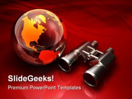 Globe And Binoculars Technology PowerPoint Templates And PowerPoint Backgrounds 0211