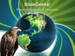 Globe With Eagle Animals PowerPoint Templates And PowerPoint Backgrounds 0111