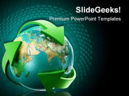 Globe With Green Arrows Earth PowerPoint Templates And PowerPoint Backgrounds 0511