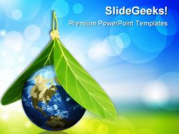 Globe With Leaves Environment PowerPoint Templates And PowerPoint Backgrounds 0311