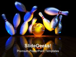 Glowing Ball Does Strike Sports PowerPoint Backgrounds And Templates 1210