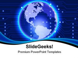 Glowing Blue Electronic Earth Technology PowerPoint Templates And PowerPoint Backgrounds 0311