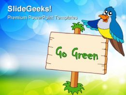 Go Green With Blue Bird Animals PowerPoint Templates And PowerPoint Backgrounds 0811