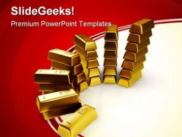 Gold Bars Finance PowerPoint Templates And PowerPoint Backgrounds 0511