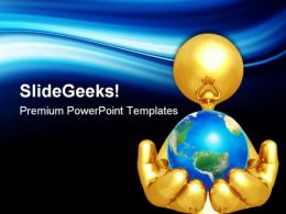 Gold Guy Holding The World Globe PowerPoint Templates And PowerPoint Backgrounds 0611