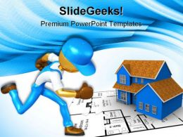 Gold Guy Worker Running Construction PowerPoint Templates And PowerPoint Backgrounds 0611