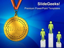 Gold Medal Sports PowerPoint Templates And PowerPoint Backgrounds 0611