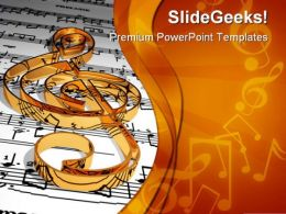 Gold Music Symbol PowerPoint Templates And PowerPoint Backgrounds 0311