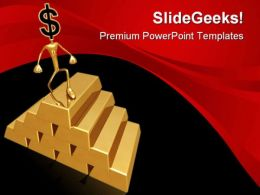 Gold Pile Dollar Business PowerPoint Templates And PowerPoint Backgrounds 0611