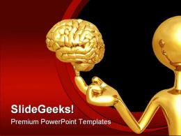 Golden Brain Leadership PowerPoint Backgrounds And Templates 1210