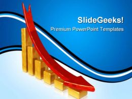 Golden Chart With Falling Red Arrow Sales PowerPoint Templates And PowerPoint Backgrounds 0411