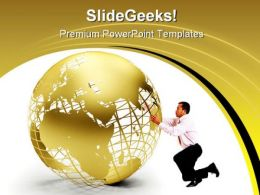 Golden Globe Earth PowerPoint Template 0910