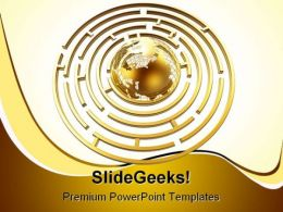 Golden Globe In Maze Global PowerPoint Backgrounds And Templates 0111
