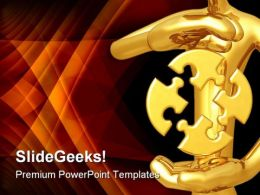 Golden Guy With Puzzle Business PowerPoint Templates And PowerPoint Backgrounds 0411