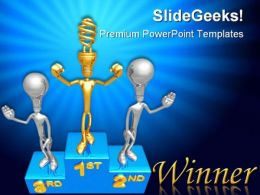 Golden Idea Winner Success PowerPoint Backgrounds And Templates 1210