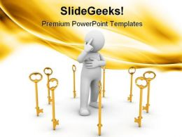 Golden Key With Men Security PowerPoint Templates And PowerPoint Backgrounds 0511
