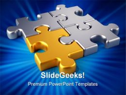 Golden Link Puzzles Communication PowerPoint Templates And PowerPoint Backgrounds 0711