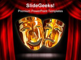 Golden Mask Entertainment PowerPoint Templates And PowerPoint Backgrounds 0711