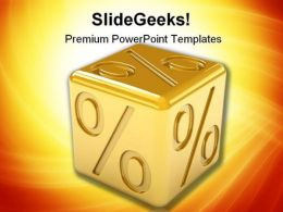 Golden Percentage Dice Finance PowerPoint Templates And PowerPoint Backgrounds 0311