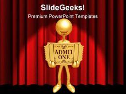 Golden Ticket People PowerPoint Template 0910