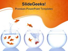 Goldfish Escape Animals PowerPoint Templates And PowerPoint Backgrounds 0611