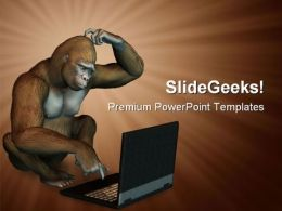 Gorilla With Laptop Business PowerPoint Templates And PowerPoint Backgrounds 0711