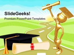 Graduate Holding Diploma Education PowerPoint Templates And PowerPoint Backgrounds 0711