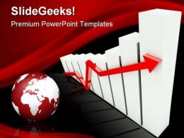 Graph With Up Arrow Globe Business PowerPoint Templates And PowerPoint Backgrounds 0411