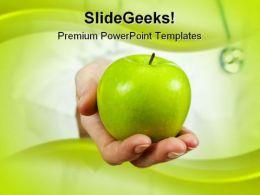 Green Apple Health PowerPoint Template 0610
